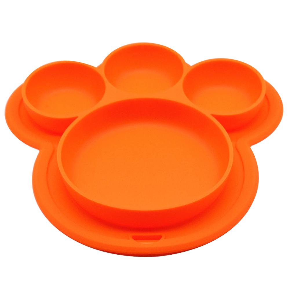 Cartoon Home Suction Baby Plate Bear Paw Shape Dinner Dish Kids Bowls Tableware Toddler Training Food-grade Silicone Children