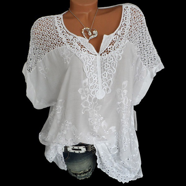 2020 Summer New Women Short Sleeve Solid Color Shirt Fashion Openwork Lace Crochet Shirt Street Casual 5 Color Shirt Size S-5XL 8