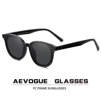 AEVOGUE New Women Retro Outdoor Polarized Sunglasses Transparent Korean Round Fashion Driving Sun Glasses Unisex UV400 AE0850