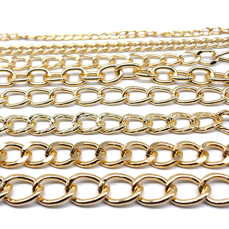 1.2M KC Gold Color Aluminum Chains Link Choker Solid Necklace Curb Male Female Accessories Chains Bulk For DIY Jewelry Making