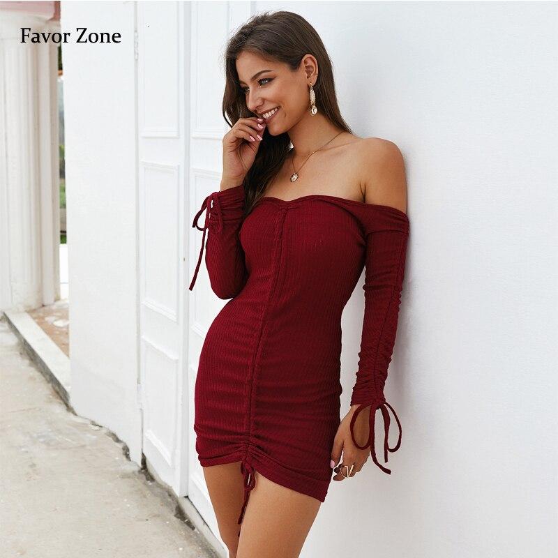 Купить сексуальное женское платье с воротником лодочкой осеннее облегающее