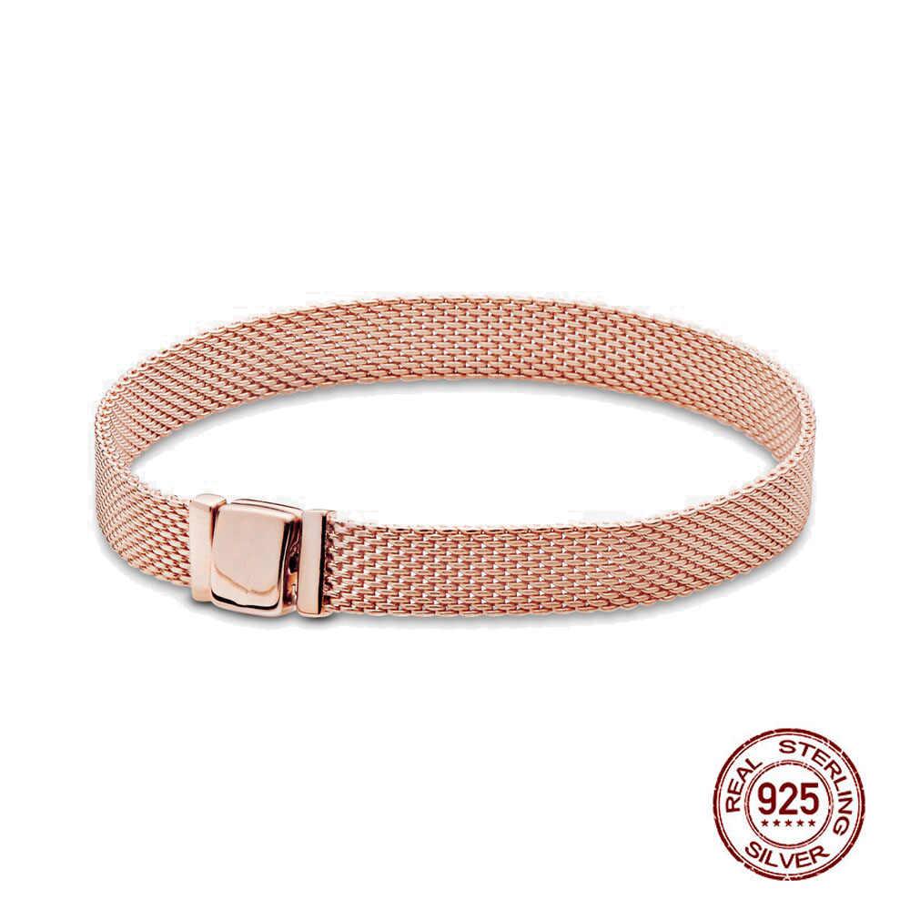 Authent 925 Sterling Silber Armband Reflexions Mesh Armband Reflexion Freundschaft Armreifen Für Frauen Luxus DIY Schmuck