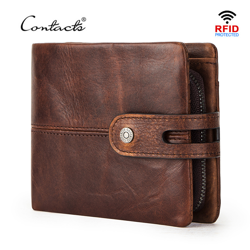 CONTACT'S 100% Crazy Horse Leather Wallet Men Hasp Coin Purse Small Card Holder Money Bag Cow Leather Male Wallets Rfid Carteira
