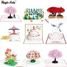 3D открытки с выдвижными цветами, открытка на день рождения, Подарок на годовщину, открытка, единорог, кленовое Вишневое дерево, свадебные пр...