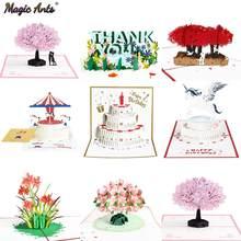 Cartes Pop-Up 3D fleurs, cadeaux d'anniversaire, carte postale licorne érable et cerisiers, Invitations de mariage, cartes de vœux