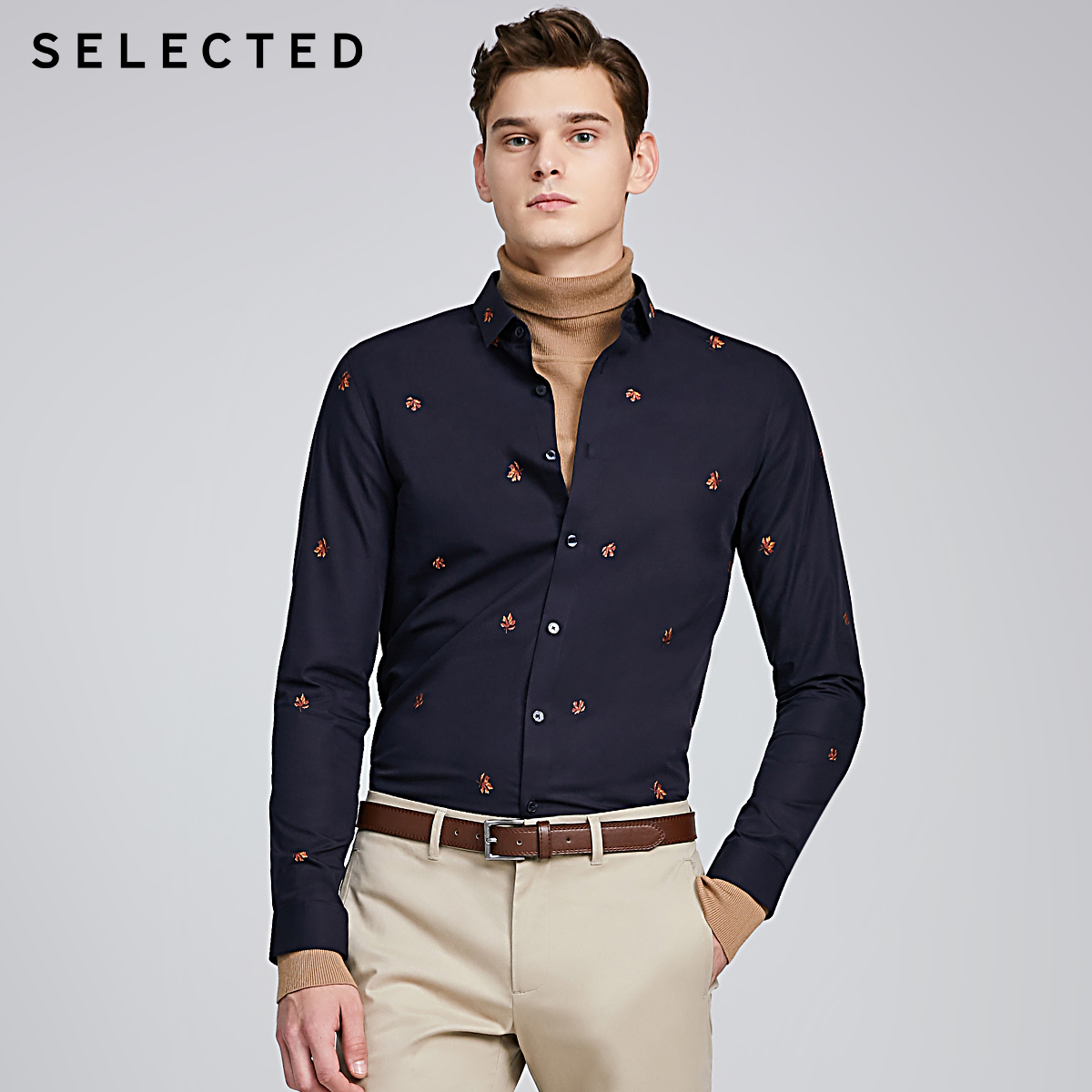 SELECTED Men's 100% Cotton Embroidery Slim Fit Long sleeve Shirts S|419405561
