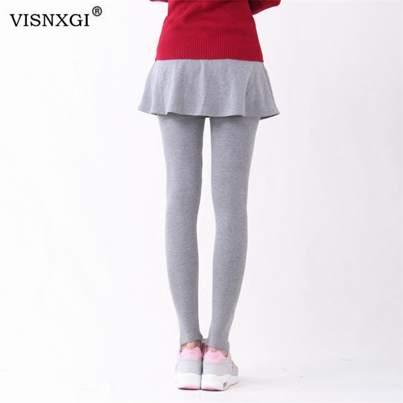 VISNXGI Women Autumn Leggings Fashion Fake Two Bottoming Elastic Waist Pants Long Culottes Skirt Winter Leggings Plus Size XXL