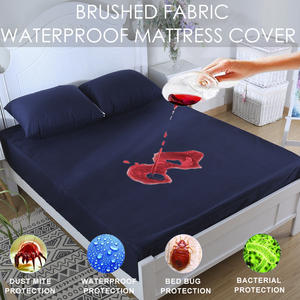 Waterproof Mattress Pad Cover Navy Blue Fitted Sheet Home Bed Protector Bedbug Proof Machine Washable