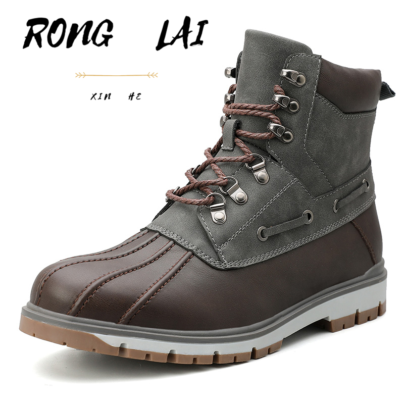 Ronglai New Men's Martin Boots Leather Fashion High-top Casual Men's Shoes High-quality Motorcycle Shoes Comfortable Plus Cotton