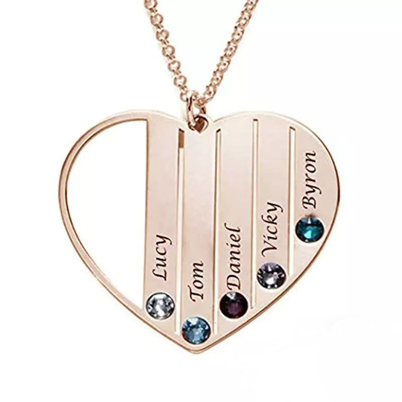 100% 925 sterling silver Custom engraved name pendant DIY birthstone necklace chain for women anniversary Jewelry gifts