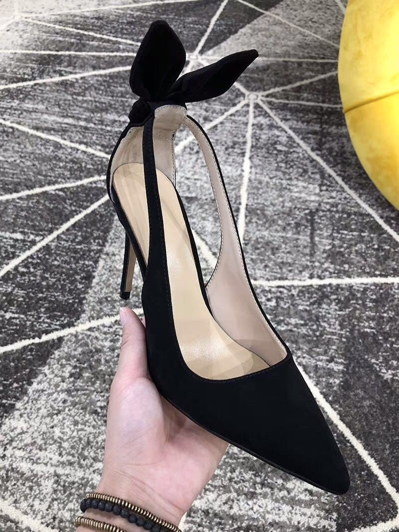 MStacchi Elegant Suede Black High Heels Shoes Sexy Open Toe Formal Dress Shoes Women Pointed Toe Thin Heel Pumps Slip On Sapato