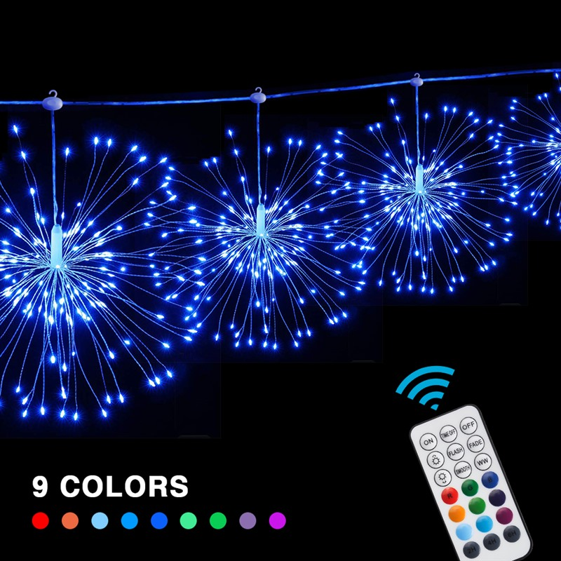 4pcs Series Connection 29Modes Hanging Starburst String Light Firework Copper Light String Fairy Christmas Lights Remote Control