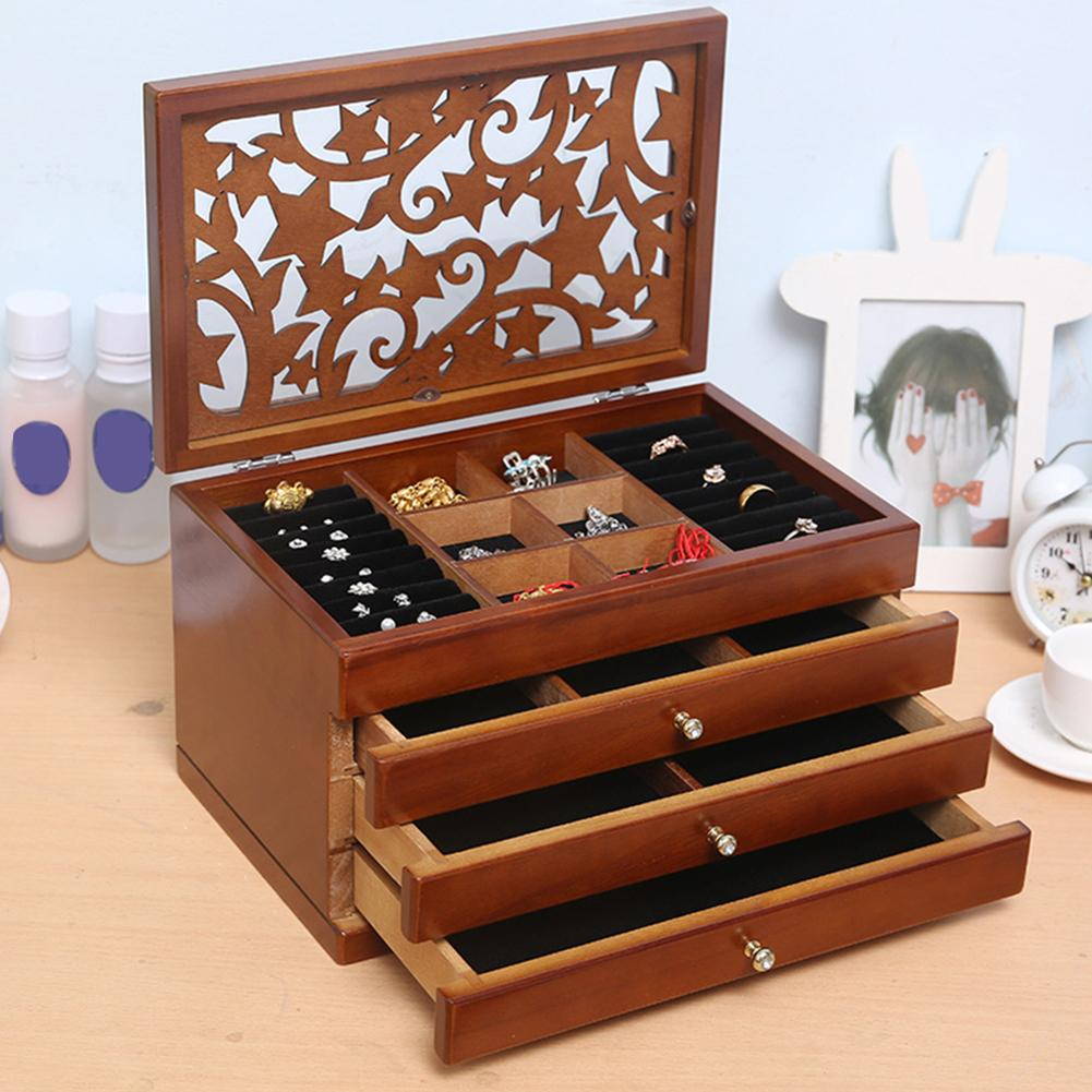 Multi-Layer 2/4 Layers Retro Wooden Drawer Jewelry Box Ring Boxes Earring Display Box Makeup Case Organizer Jewelry Storage Box