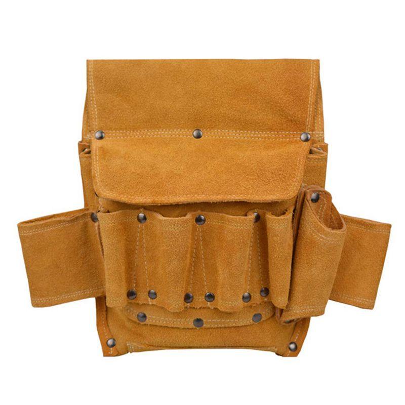 HHO-Leather Electrical Toolkit Bag Multi-Function Home Decoration Tool Belt Bag Electric Wood Hardware Kit Storage Bag