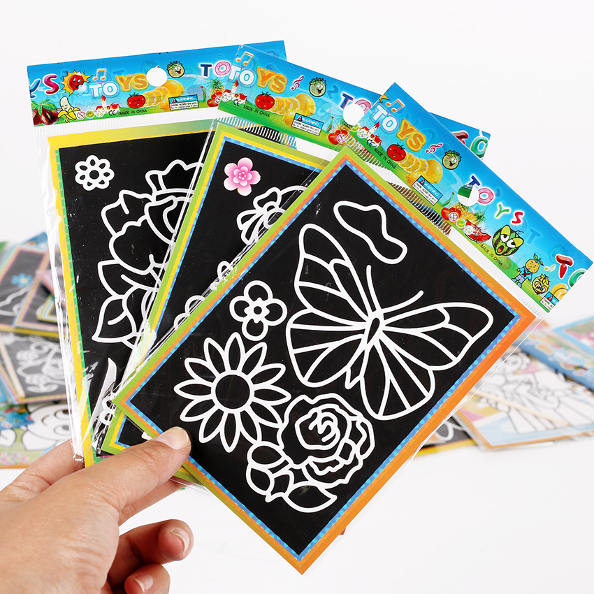 13x9.5cm Color Scratch Art Coloring Card Paper Scraping Graffiti Painting Drawing Book For Children Office Stationery Gift 6 PCS