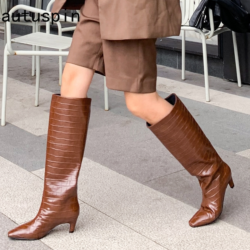 autuspin Fashion Knee-high Boots Women Classic Casual Women's Shoes Sexy Party Dancing Retro High Heels Female Chelsea Long Boot