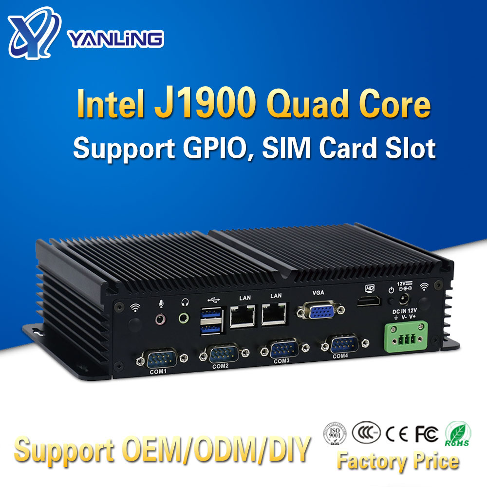 Yanling Compact Mini PC Intel J1900 Dual Lan Fanless Industrial Computers Support GPIO SIM Slot 6 RS232 COM Port For Windows 7