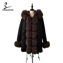 FURSARCAR Womens Real Brown Blue Fox Fur Collar Hooded Parka With Rex Rabbit Lining Winter  Jackets Coat Female Clothes