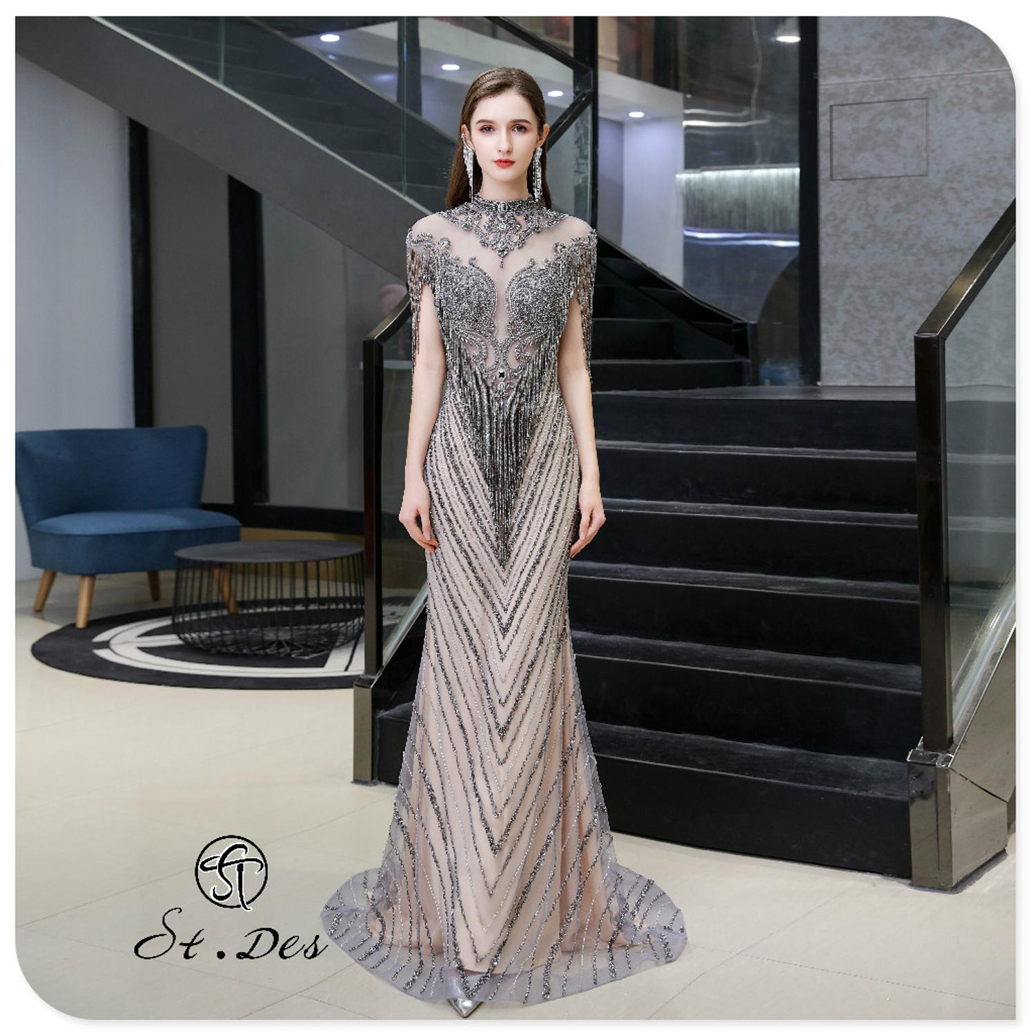 S.T.DES Evening Dress 2020 New Arrival Round Neck Mermaid Lace Short Sleeve Floor Length Elegant Party Dress Dinner Gowns