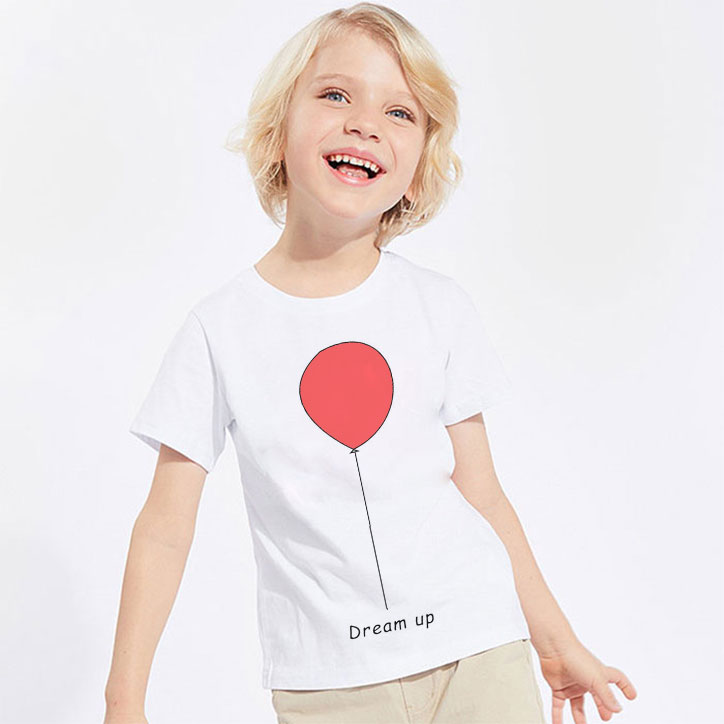Summer New T-<font><b>shirt</b></font> Boys Cartoon Cute Red Balloon And <font><b>Best</b></font> <font><b>Friend</b></font> Girls T <font><b>Shirt</b></font> Kawaii <font><b>Kid</b></font> Clothes Short-Sleeved White Tops Vogue image