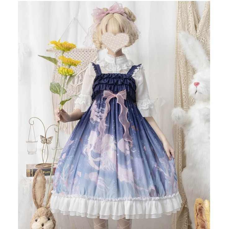 Kawaii Lolita Jurk Mouwloos Jsk Oceaan Lied Elegante Zoete Cosplay Kostuum Gothic Retro Band Tule Jurk Thee Party Dress