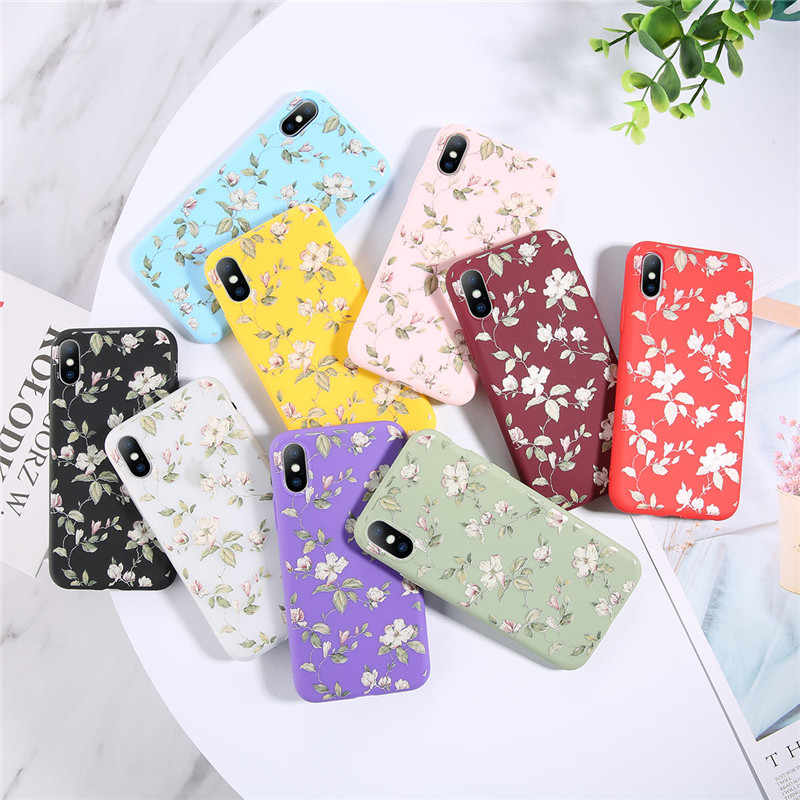 Uslion caso para iphone 7 8 6 s plus doce cor folha flor caso do telefone para iphone xr xs max x floral tpu macio silicone capa