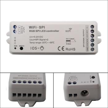 DC5V-24V RGB SPI WiFi LED Pixel Strip Controller Support WS2811 WS2812B TM1809 TM1812 LPD6803 WS2801 UCS1903 TLS3001 IC bc 820 dmx512 to spi signal decoder convertor controller for lpd6803 8806 ws2811 2801 ws2812b 9813 led pixel light dc5v 24v