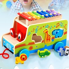 Wooden Xylophone Music Instrument Trailer Car Shape Animal Puzzle Block Toys children musical instrument Learning Education Toy