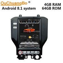 Ouchuangbo PX6 10,4 pulgadas estilo tesla pantalla vertical coche gps radio para Ford mustang 2015-2018 soporte 6 core 4 + 64 android 8,1