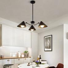 цена на Simple bedroom chandelier black modern nordic creative personality living room bedroom dining room lamp