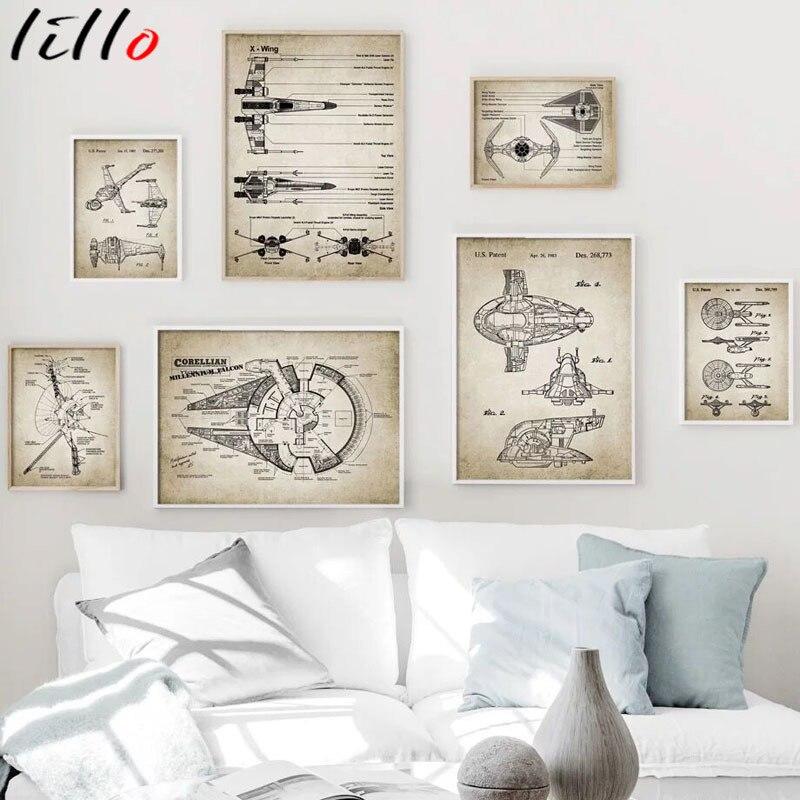 Nordic vintage spaceship sci-fi aeronaves detalhada arte da parede pintura em tela cartazes e impressões arte da parede sala de estar decoração