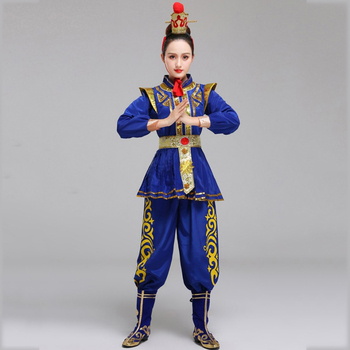 Classical Drama Dance Costume Opera blue Women Stage Performance wear Hua Mulan Cosplay apparel Ancient Soldier outfit