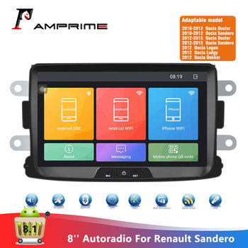 AMPrime 2 Din Android 8.1 Car Radio Autoradio 8'' Touch Screen GPS MP5 Mirror Link For Renault Sandero/Logan Multimedia Player image