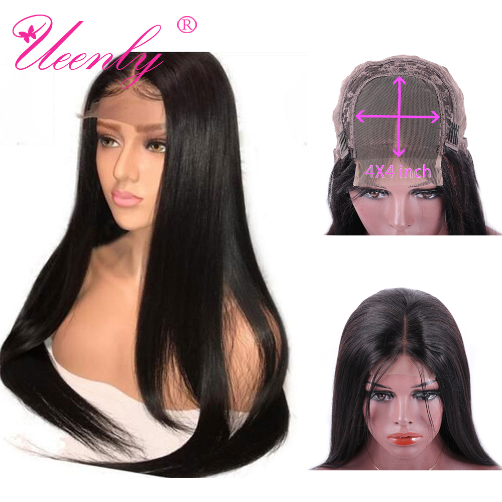 Hc37bada2b0534796b7c21f96f3c125ffO UEENLY 4x4 Closure Wig Brazilian Straight Lace Closure Human Hair Wigs Pre Plucked With Baby Hair Remy Hair Closure Wigs