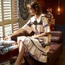 Camisón de talla grande de algodón para mujer, ropa de dormir de dibujos animados, manga corta, 100% de verano, informal