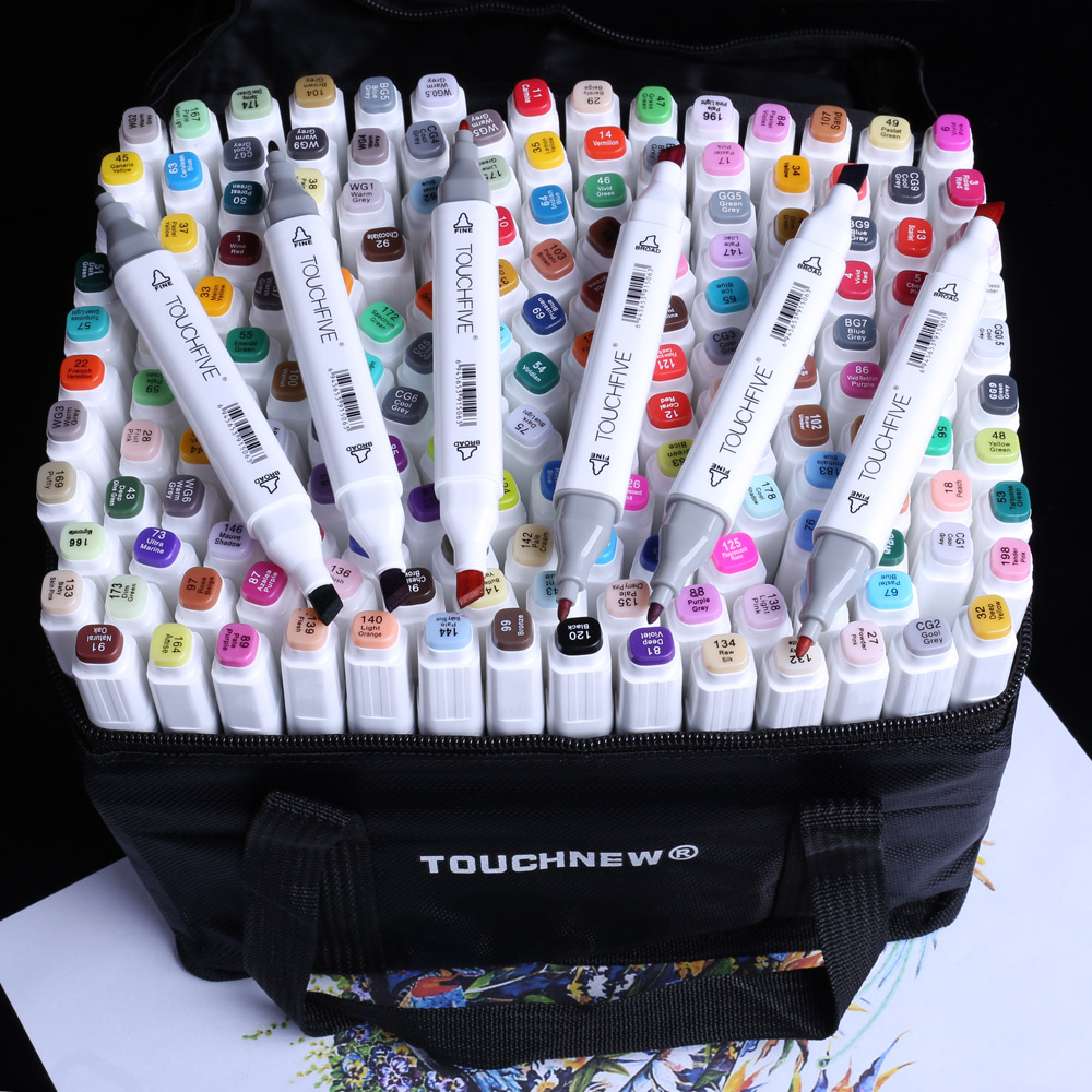 30/40/60/80/168 Color Set Matching Art Markers Brush Pen Sketch Alcohol Based Markers Dual Head Manga Drawing Pens Art Supplies