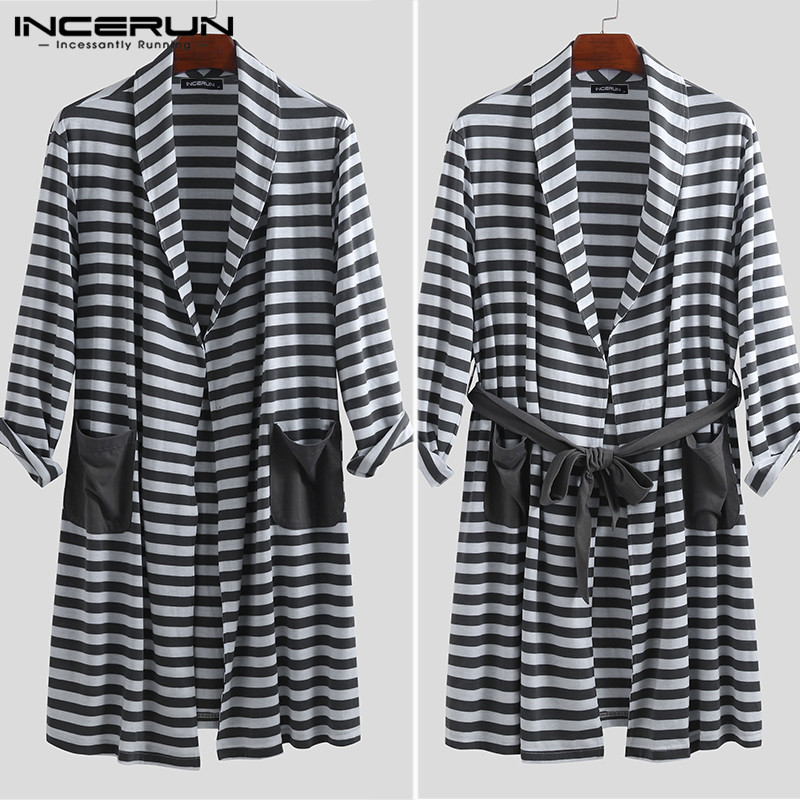 INCERUN Men's Literary Nightgown Striped Lapel Pocket Fashion Long Sleeve 2019 New Loose Tie Long Paragraph High Quality Robe