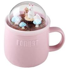 Big deal Kreative Cartoon Tier Micro-Landschaft Milch und Kaffee Becher 400Ml High-Kapazität Büro Keramik Tassen schönheit Geschenke-Rosa