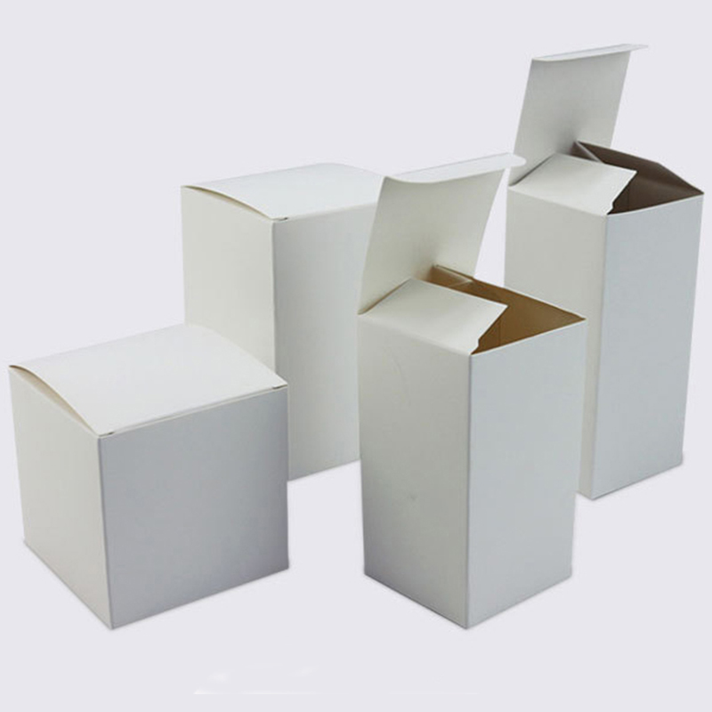 50 Pcs Sizes Blank White Paper Packaging Recycled Kraft Paper Gift Box Handmade Soap Packaging Cardboard Packing Carton Box
