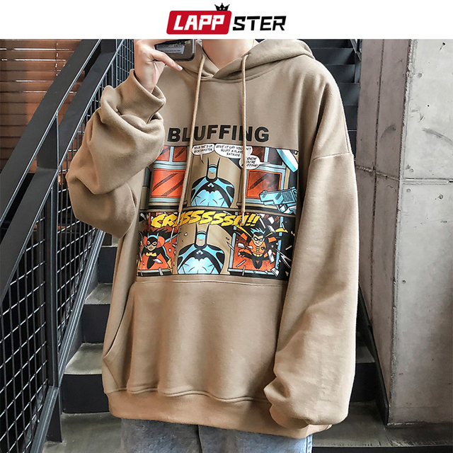 LAPPSTER Men Funny Harajuku Hooded Hoodie Hip Hop Autumn Mens Japanese Streetwear Sweatshirts Male Korean Fashions Clothing