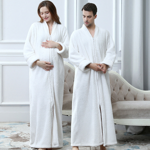 Image 2 - Women Plus Size Thickening Flannel Extra Long Thermal Bathrobe Lovers Zipper V Neck Winter Warm Bath Robe Pregnant Wedding Robes