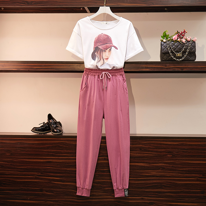 Plus Size Loose Tshirts And Pants Women Two Piece Set Summer Short Sleeve Casual 2 Piece Suits Female Sportswear Outfit Clothes