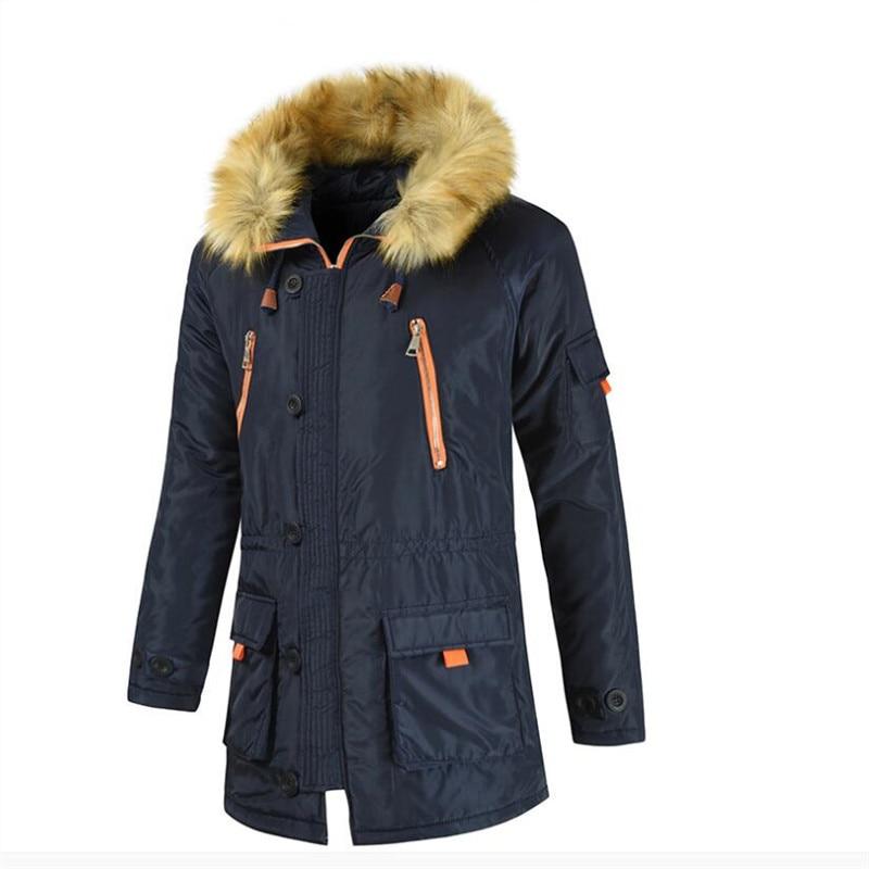 Male Zipper Outward Plus Size 8xl Parkas Overcoat Winter Jacket Men Parka Fur Hooded Quilted Padded Wadded Windbreaker Warm