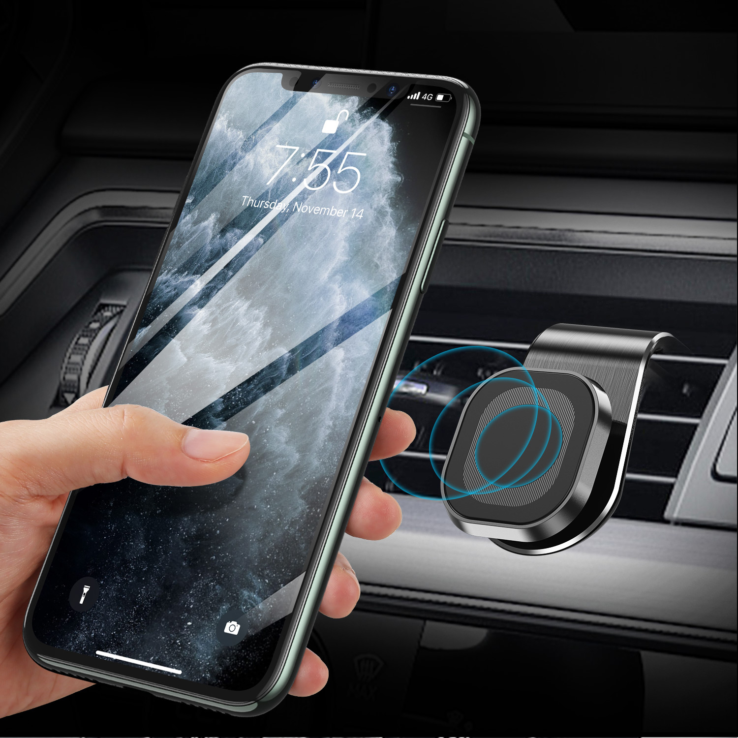 GTWIN 360 Degree Magnetic Car Phone Holder Stand Air Vent Mount Dashboard GPS In Car Plastic Mobile Phone Universal Holder