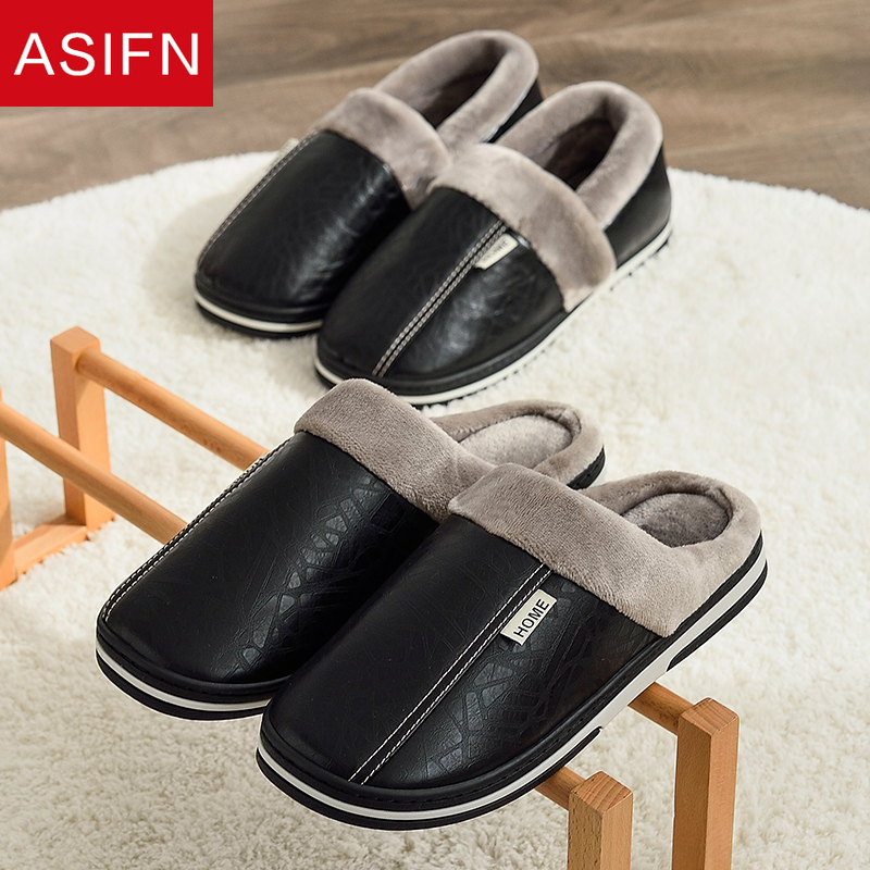 ASIFN Men Slippers Indoor Leather Winter Waterproof Warm Home Fur Women Slipper Male Couple Platform Shoes Fluffy Big Sizes