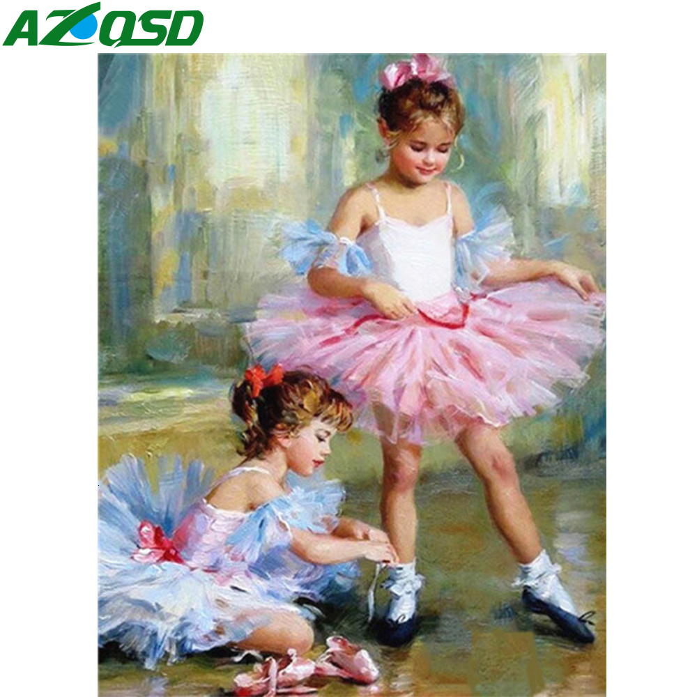 AZQSD DIY Unframe Paint By Number Canvas Painting Kits Ballet Girl HandPainted Gift Draw By Number Figure Home Decoration
