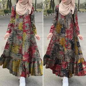 ZANZEA Turkish Ruffle Dress Kaftan Women's Print Sundress Floral Maxi Vestidos Dubai Female Button Islam Clothing Robe Plus Siz