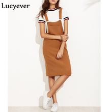 Lucyever Vintage Elastic Women Midi Dress Autumn Strap Suspender Female