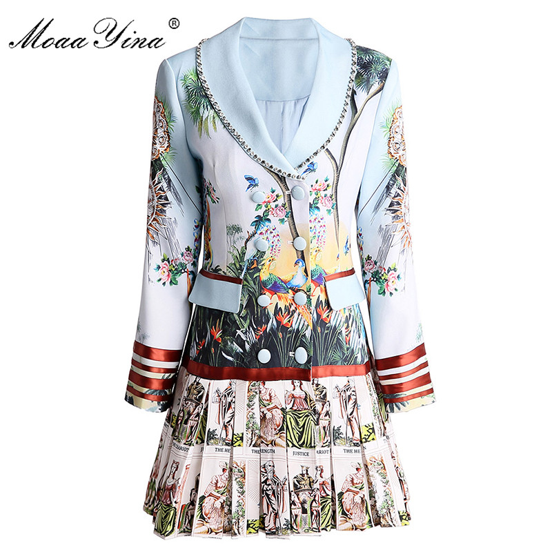 MoaaYina robe de créateur de mode printemps automne robe pour femmes à manches longues imprimé perlé Double boutonnage robes plissées