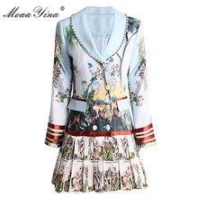 MoaaYina ファッションデザイナードレス春秋の女性のドレス長袖プリントビーズダブルブレストプリーツドレス